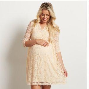 Pinkblush Beige Lace Wrap Maternity Dress